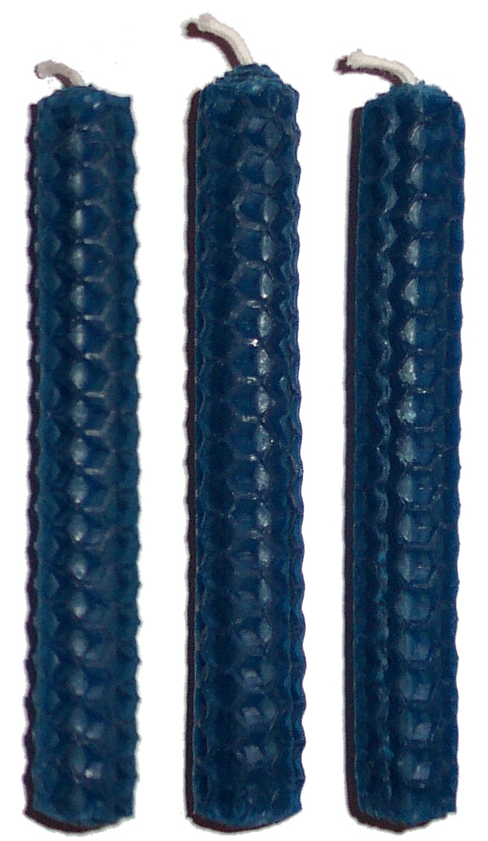 3 x 10cm BLUE Beeswax Candles