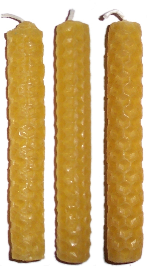 3 x 10cm NATURAL (gold) Beeswax Candles