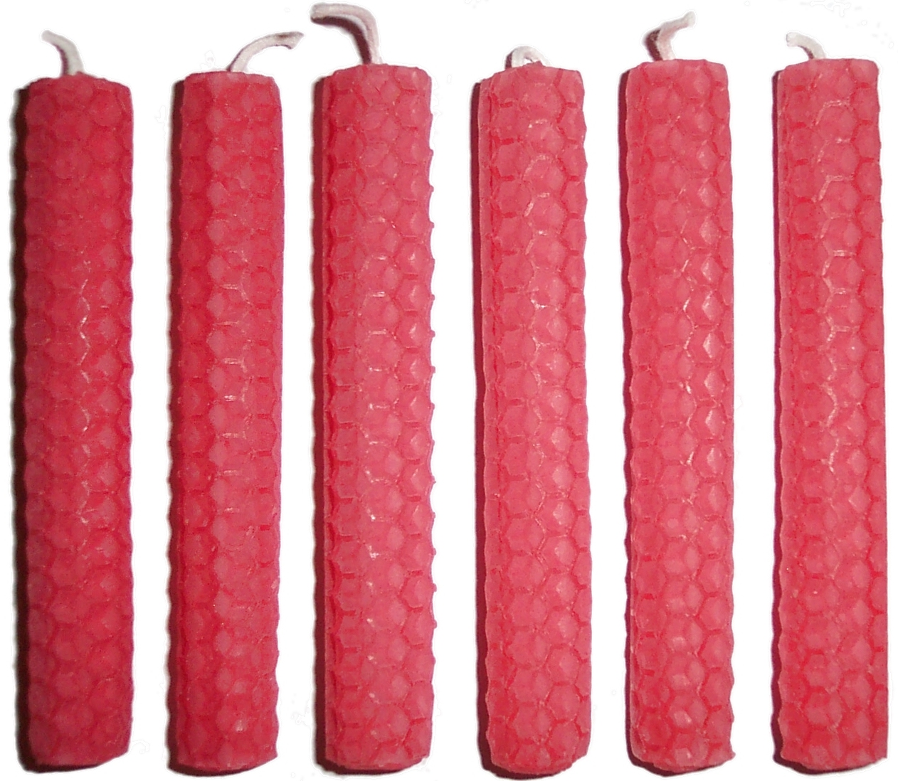 6 x 10cm PINK Beeswax Candles